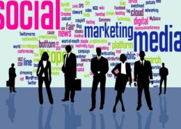 A word cloud of social marketing terms behind a group of business men icons
