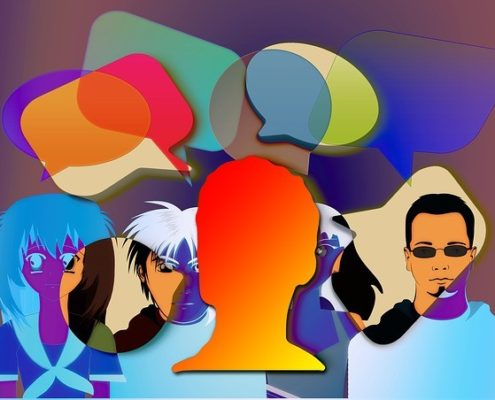 Animated colorful men and women with comment bubbles