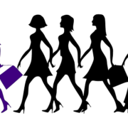multiple black icons of women following a purple icon of a woman