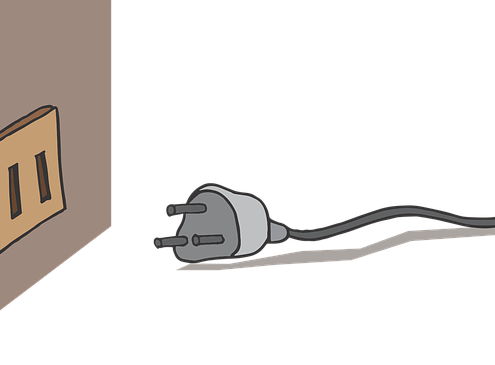 An animated electronic plug not plugged in the wall
