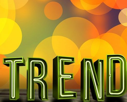 Social Media Marketing Trends in 2017 with colorful background