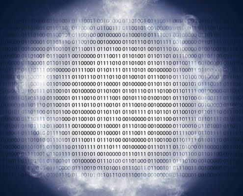 A white paper with binary codes displayed with special effects