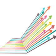 A cluster of colorful arrows growing diagonally on the right