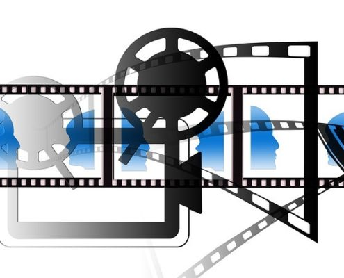 A black and white video icon with blue icons of human faces