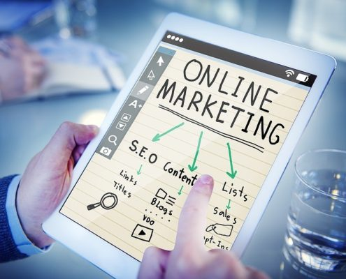 online marketing and influencer marketing on a tablet device