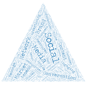social-media related words clustered into a pyramid