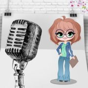 An animated girl speaking in front of a large mic