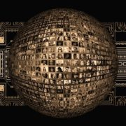 A sphere of photos with people