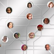 A network of people on top of a silver background